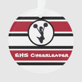 Personalised Red and Black Cheerleader Ornament