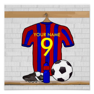 Personalised Red and Blue Football Soccer Jersey Poster