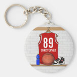 Personalised Red and White Basketball Jersey