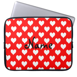 Personalised Red and White Heart Pattern Laptop Sleeve