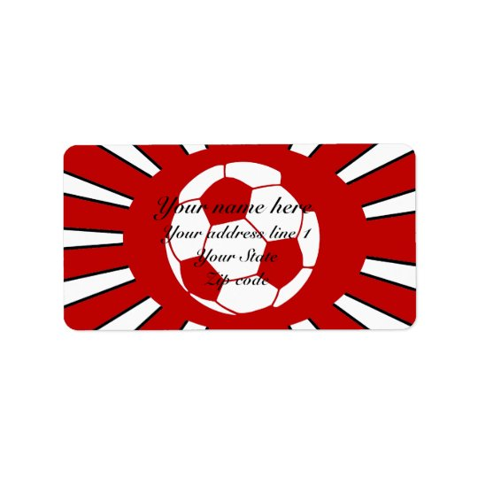 Personalised red and white soccer design address label