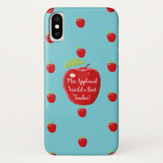 Personalised Red Apple World's Best Teacher iPhone X Case