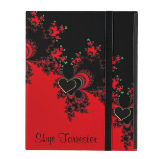 Personalised Red Black Heart Fractal iPad Case