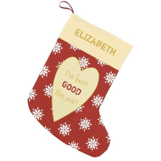 Personalised red Christmas snowflakes Small Christmas Stocking