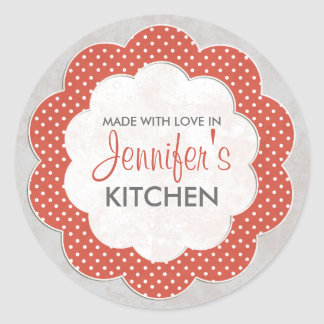 Personalised Red Floral Dot Canning Stickers