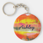 Personalised Red Orange Yellow Abstract Art Basic Round Button Key Ring