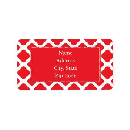 Personalised Red Quatrefoil Pattern Address Label