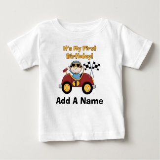 Personalised Red Race Car 1st Birthday Tshirt