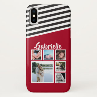 Personalised Red Stripe Pattern Black White iPhone X Case