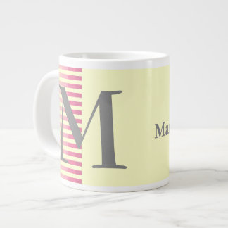Personalised Red Stripes and Light Yellow Monogram Large Coffee Mug