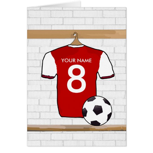 Personalised Red with White Football Soccer Jersey Card