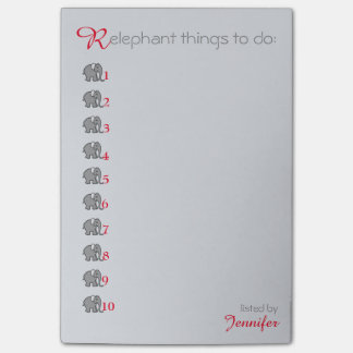 "Personalised ""RElephant"" To-Do-List Grey Elephant Post-it Notes"