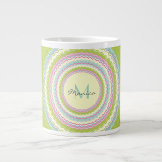 Personalised Retro Colourful Flower Power Monogram Large Coffee Mug
