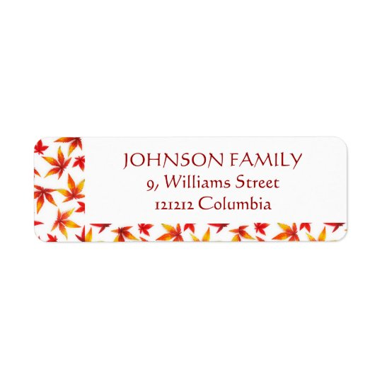 Personalised Return Address Labels - Autumn Leaves