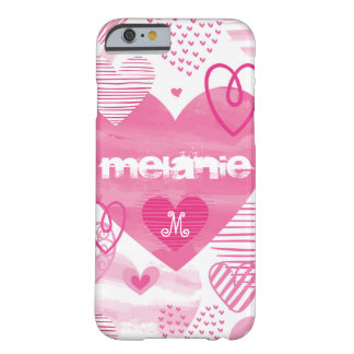 Personalised romantic pink hearts iphone case