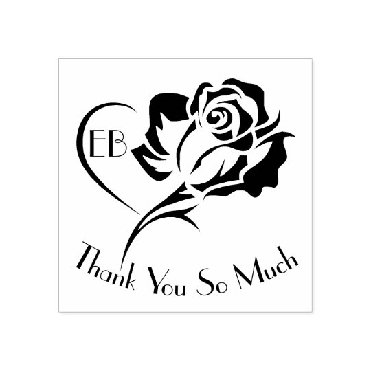 Personalised Rose Design Thank You Rubber Stamp