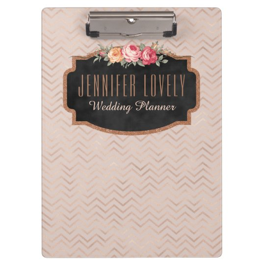 Personalised Rose Gold Chevron Stripes Floral Clipboard