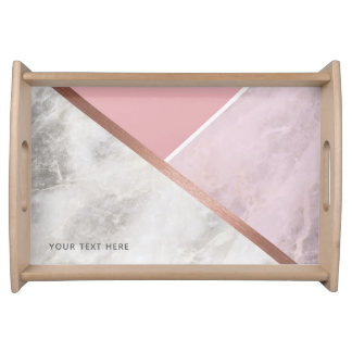 Personalised Rose Gold Marble Copper Effect Tray