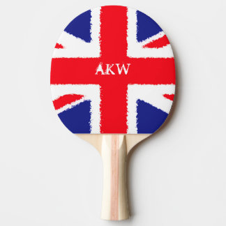 Personalised Rough edge Union Jack Ping Pong Paddle