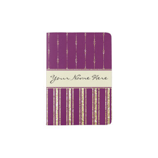 Personalised Royal Purple and Faux Glitter Stripes Passport Holder