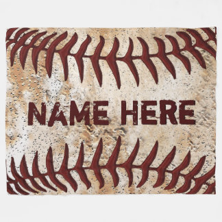Personalised Rustic Baseball Blanket, YOUR TEXT Fleece Blanket