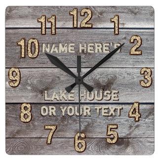 Personalised Rustic Lake House Wall Decor, Clock