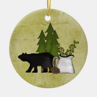 Personalised Rustic Mountain Country Bear Ceramic Ornament