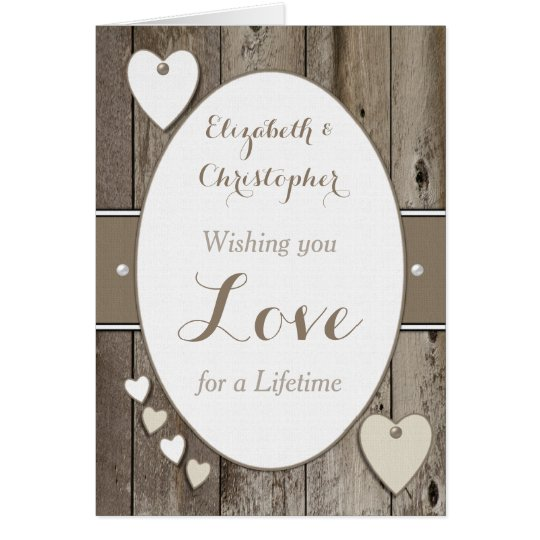 Personalised Rustic Wedding Day Card