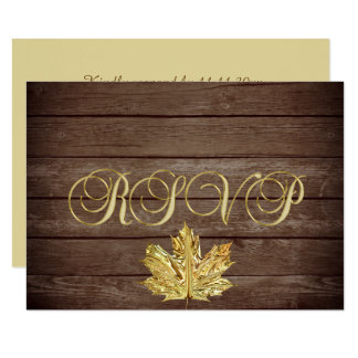 Personalised Rustic Wood Country Fall RSVP Wedding Card