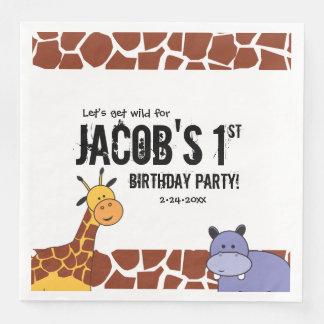 Personalised Safari 1st birthday, Jungle theme Disposable Napkin