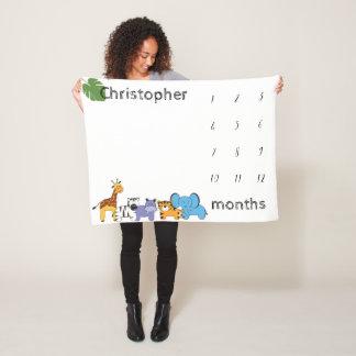 Personalised, Safari, Baby, milestone months Fleece Blanket