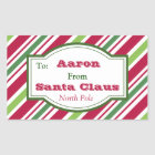 Personalised Santa Candy Gift Tag Stickers