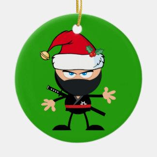 Personalised Santa Clause Ninja Warrior Ceramic Ornament