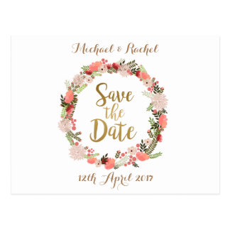 personalised Save the Date Spring floral wreath Postcard