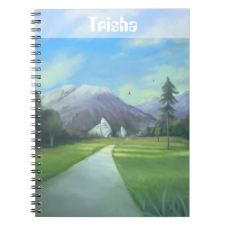 Personalised Sci Fi Nature Painting With Mountains Notebook