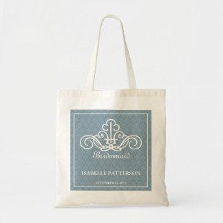 Personalised Scrolls Wedding Party Bag in Blue