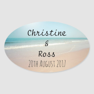 Personalised seaside wedding sticker
