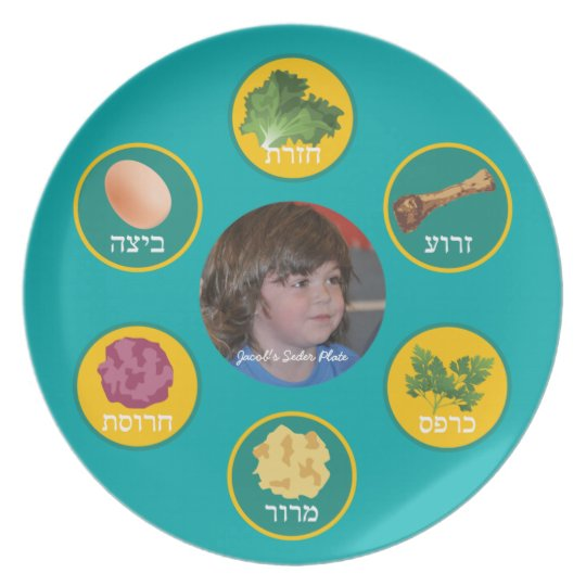 Personalised Seder Plate (Turquoise/Hebrew)