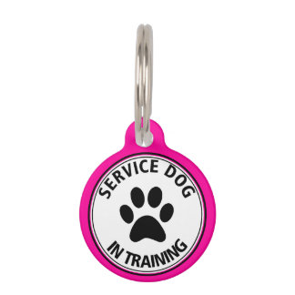 Personalised Service Dog In Training Pink Pet Tag