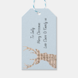 personalised sheet-music reindeer gift tags
