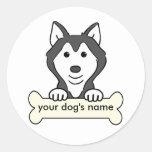 Personalised Siberian Husky Round Stickers