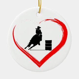Personalised Silhouette Barrel Racing Horse, Heart Ceramic Ornament