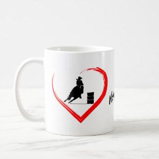 Personalised Silhouette Barrel Racing Horse, Heart Coffee Mug