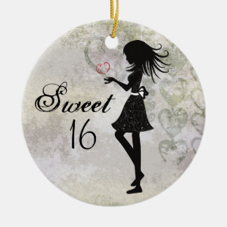 Personalised Silhouette Girl and Hearts Sweet 16 Ceramic Ornament