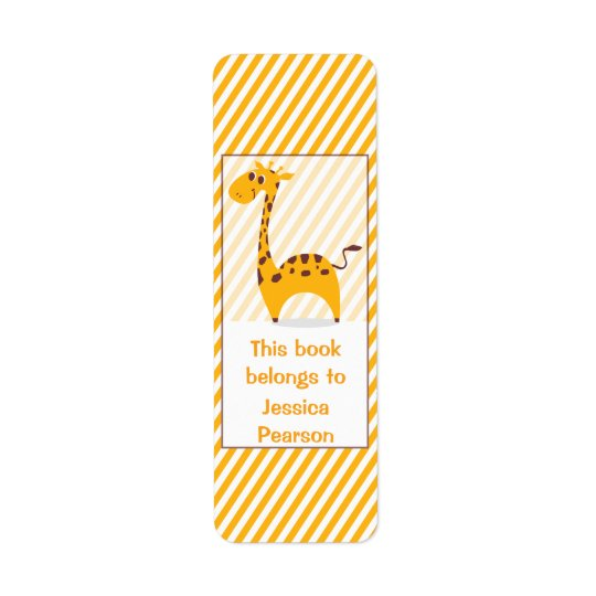 Personalised Silly Giraffe Bookplate Return Address Label