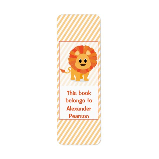 Personalised Silly Lion Bookplate Return Address Label