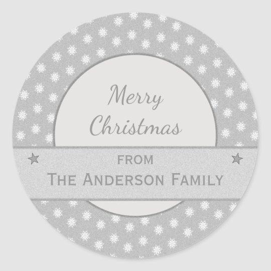Personalised silver holiday Christmas Classic Round Sticker