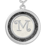 Personalised Silver Initial Pendant Necklace::M