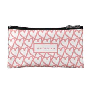 Personalised Simple Pink Touching Hearts Pattern Makeup Bag