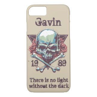 Personalised Skull and Crossbones, Gothic Rose iPhone 7 Case